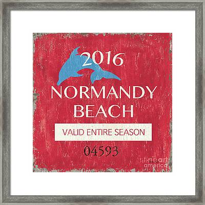 Beach Badge Normandy Beach Framed Print by Debbie DeWitt