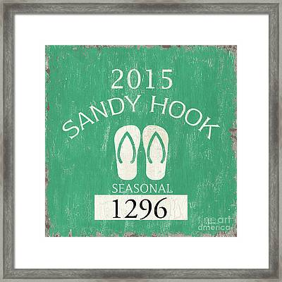 Beach Badge Sandy Hook Framed Print by Debbie DeWitt