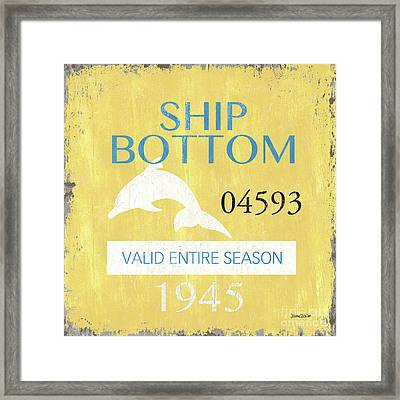 Beach Badge Ship Bottom Framed Print
