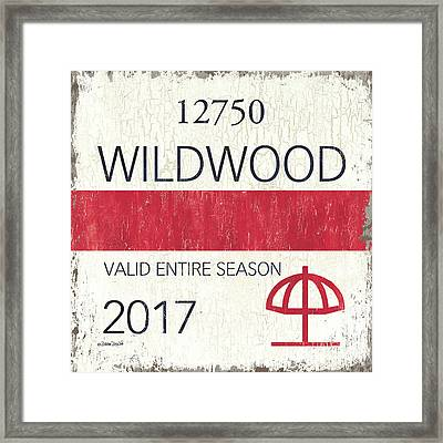 Beach Badge Wildwood 2 Framed Print