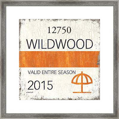 Beach Badge Wildwood Framed Print