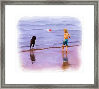 Framed Print featuring the painting Beach Ball Race by Sena Wilson