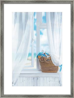 Beach Basket Still Life Framed Print by Amanda Elwell