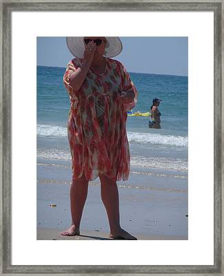Framed Print featuring the painting Beach Beauty by Esther Newman-Cohen