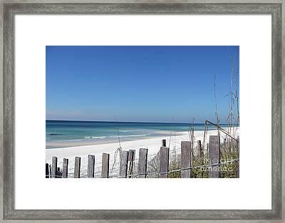 Beach Behind The Fence Framed Print