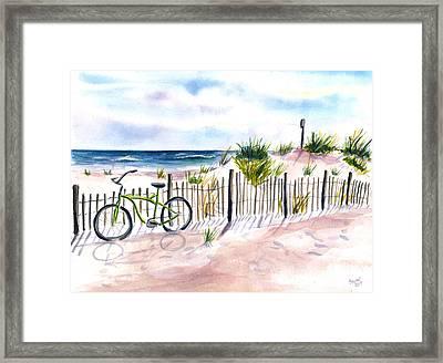 Beach Bike At Seaside Framed Print