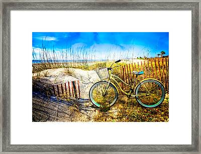 Beach Bike At The  Dunes Framed Print by Debra and Dave Vanderlaan