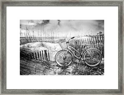 Beach Bike At The  Dunes In Black And White Framed Print