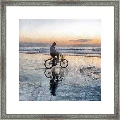 Framed Print featuring the digital art Beach Biker by Francesa Miller