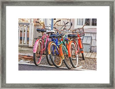 Beach Bikes Framed Print by Tom Singleton