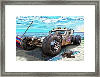 Beach Blanket Rat Rod Framed Print