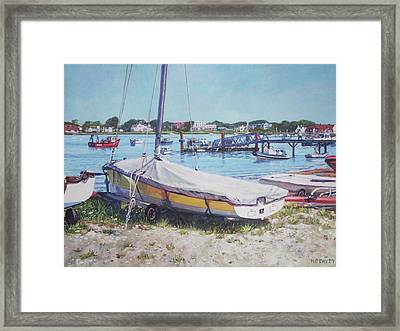 Beach Boat Under Cover Framed Print by Martin Davey