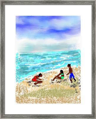 Beach Buddies  Framed Print by Elaine Lanoue
