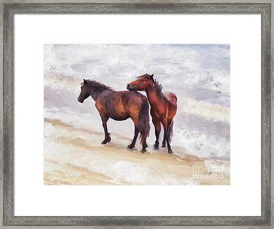 Framed Print featuring the photograph Beach Buddies by Lois Bryan