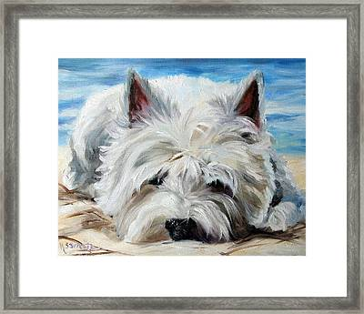 Beach Bum Framed Print by Mary Sparrow