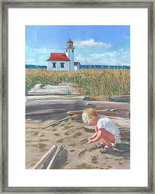 Beach By Lighthouse Framed Print
