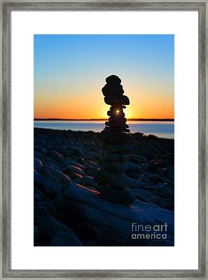 Beach Cairn At Sunrise Framed Print