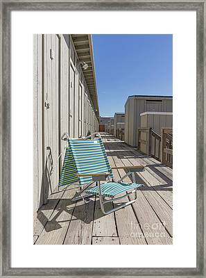 Beach Chair At The Changing Rooms Framed Print by Edward Fielding