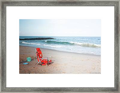 Framed Print featuring the photograph Beach Chair By The Sea by Ann Murphy