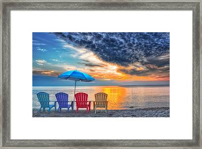 Beach Chairs Framed Print by Brian Mollenkopf