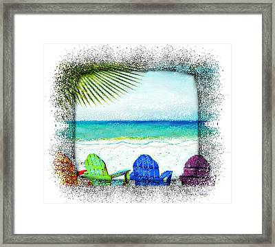 Beach Chairs In Paradise Framed Print
