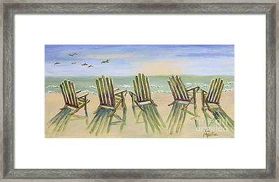 Beach Chairs Relaxing Framed Print by Vic  Mastis