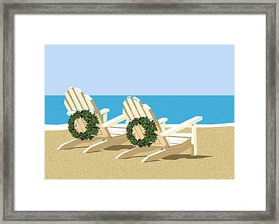 Beach Chairs With Wreaths Framed Print by Elaine Plesser