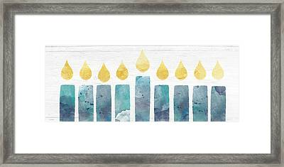 Beach Colors Menorah- Art By Linda Woods Framed Print