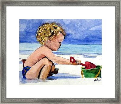 Framed Print featuring the painting Beach Construction by Jim Phillips