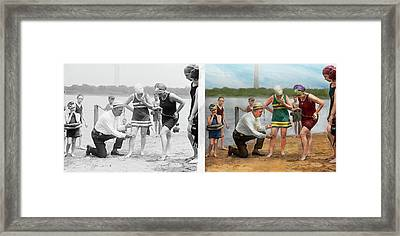Beach - Cop A Feel 1922 - Side By Side Framed Print by Mike Savad