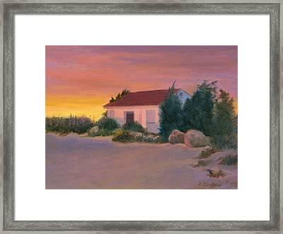 Beach Cottage At Sunset Framed Print
