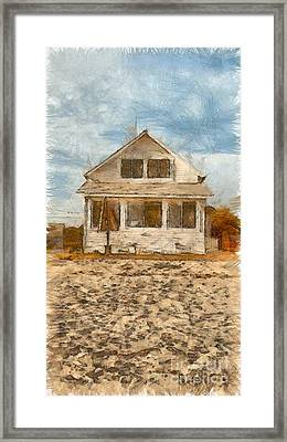 Beach Cottage Pencil Framed Print by Edward Fielding