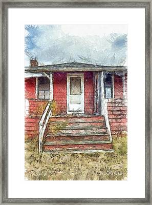 Beach Cottage Salisbury Beach Pencil Framed Print by Edward Fielding