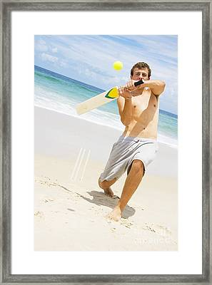 Beach Cricket Slog Framed Print