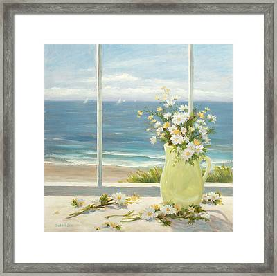 Beach Daisies In Yellow Vase Framed Print