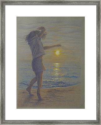 Beach Dance, Young Girl Dancing In The Sand On The Beach At Sunset Framed Print
