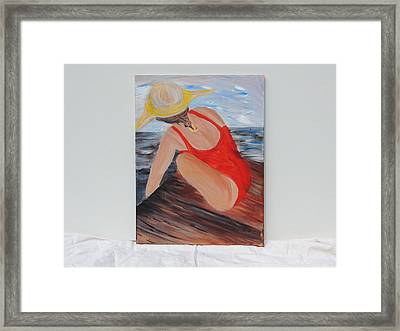 Beach Day Block Island Framed Print by Debbie Hall
