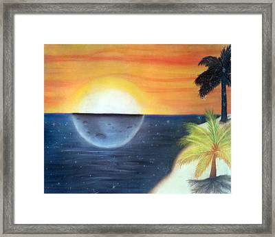 Day Night Beach Framed Print by Tabitha Lemus