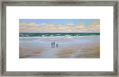 Beach Dog Walk Framed Print