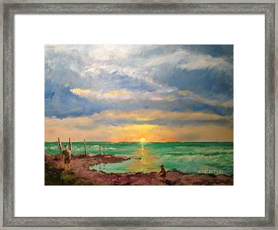 Beach End Of Day Framed Print