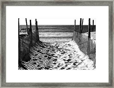 Beach Entry Black And White Framed Print