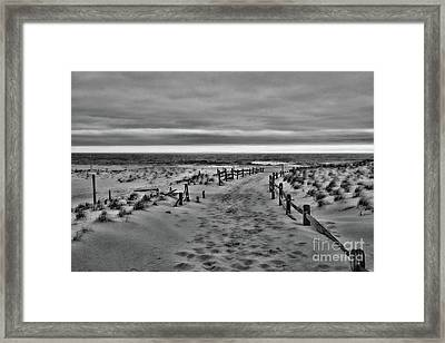 Framed Print featuring the photograph Beach Entry In Black And White by Paul Ward