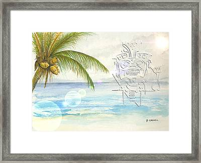 Framed Print featuring the digital art Beach Etching by Darren Cannell