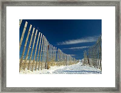 Beach Fence And Snow Framed Print by Matt Suess