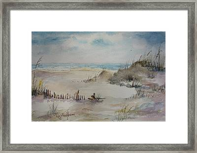 Beach Fence Framed Print by Dorothy Herron