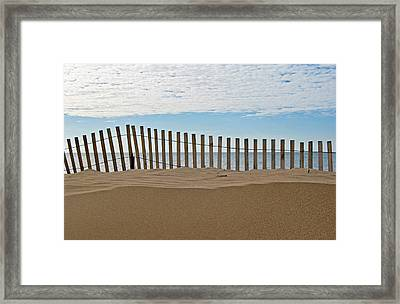 Beach Fence Framed Print by Maria Dryfhout