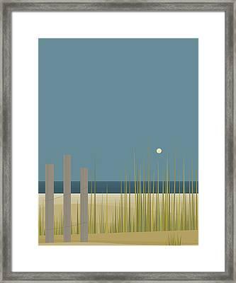 Beach Fence Framed Print by Val Arie