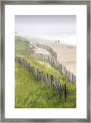 Beach Fences In A Storm Framed Print