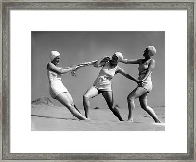 Beach Fight Framed Print
