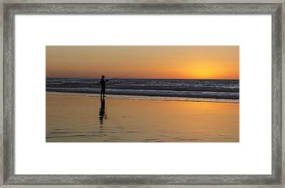 Beach Fishing At Sunset Framed Print